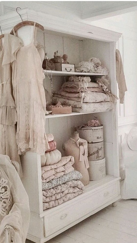 Deco Shabby Chic Armoire Beige Rose