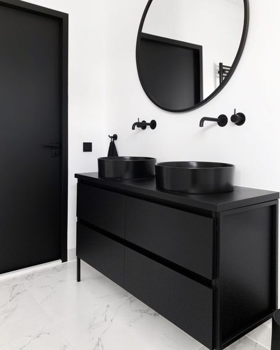 Salle De Bain Moderne Blanche Noire