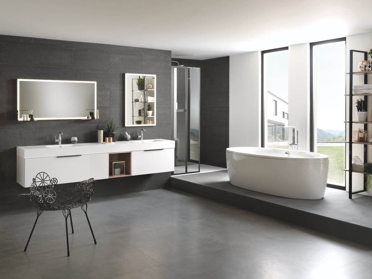 De Bain Design Gris Et Blanc