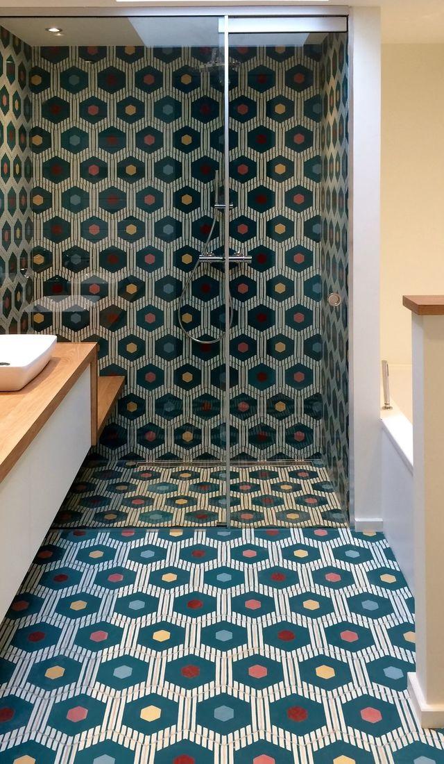 Carrelage Salle De Bain Hexagonal Colore