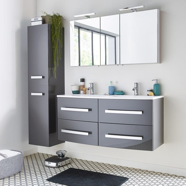 Armoire De Toilette 117 Cm Grise