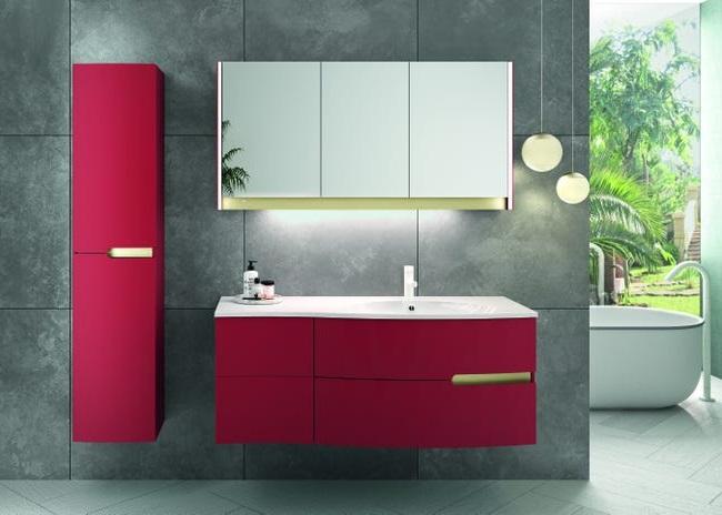 Armoire De Toilette Rouge Avec Miroir Et Led