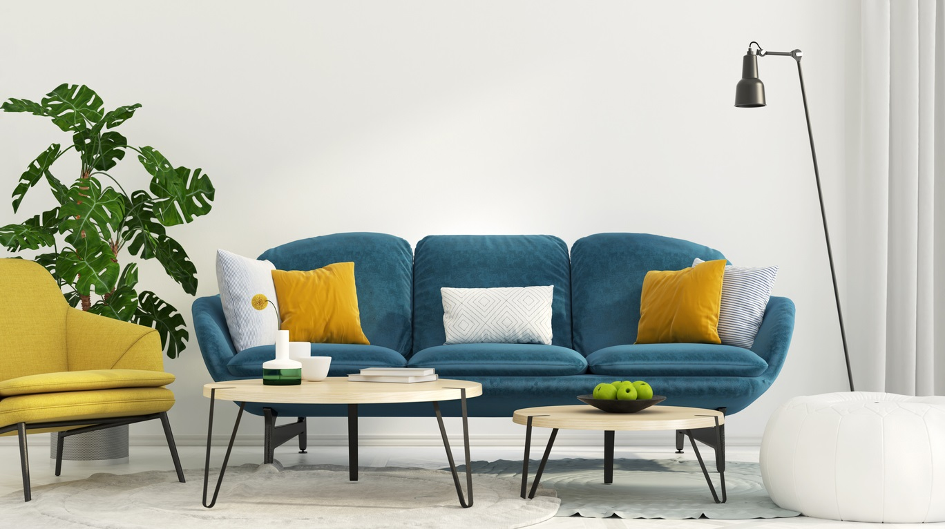 Canapé Classic Blue Avec Coussins Jaunes