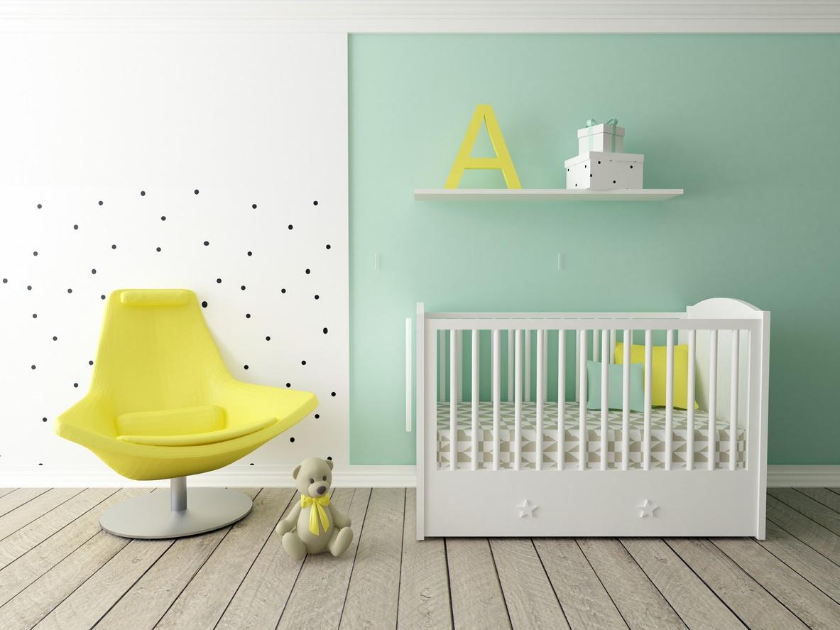 Chambre Pour Bébé En Vert Pastel Et Jaune