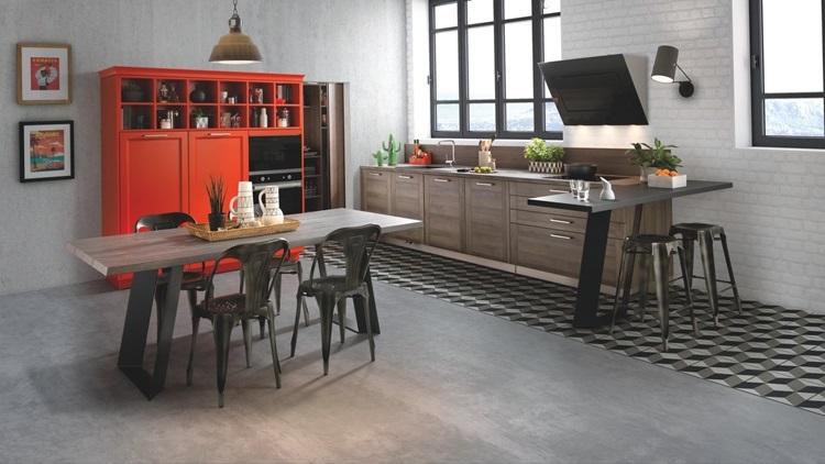 Cuisine Au Style Industriel Avec Vaisselier Pop