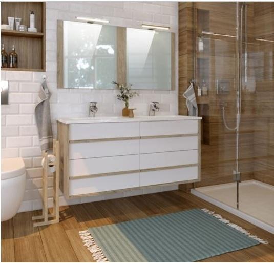 Meuble De Salle De Bain Avec Vasques En Blanc Et Bois