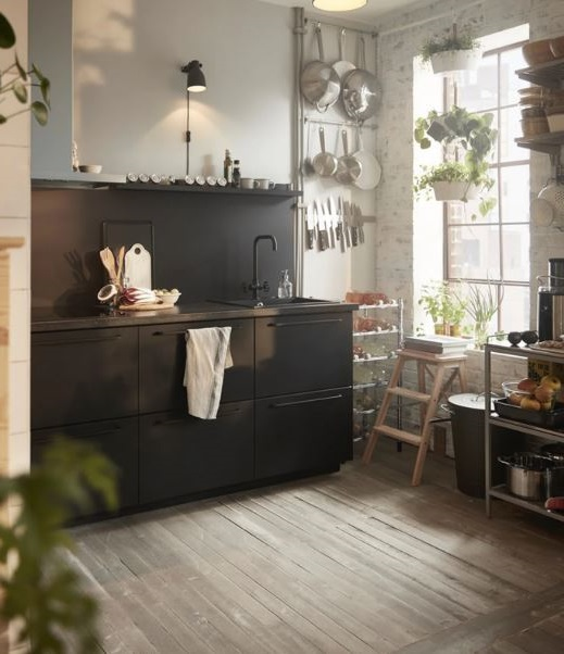 Mobilier Et équipement De Cuisine Noir Sombre