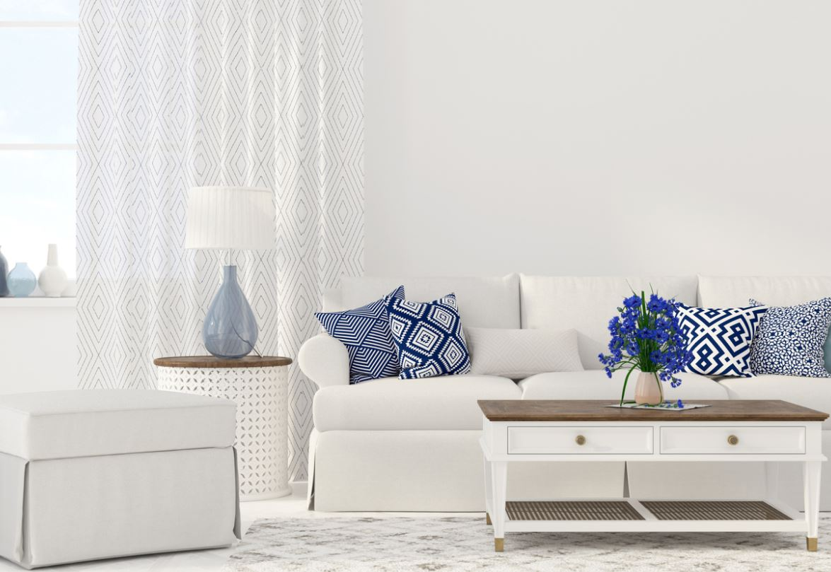 Salon Blanc Avec Coussins Bleu Classic Blue