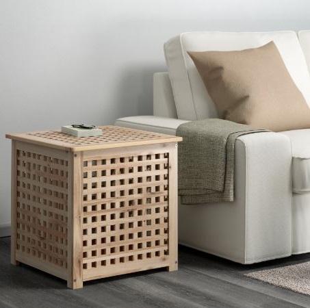 Salon Ikea Avec Meuble En Marron Clair Et Canapé Crème