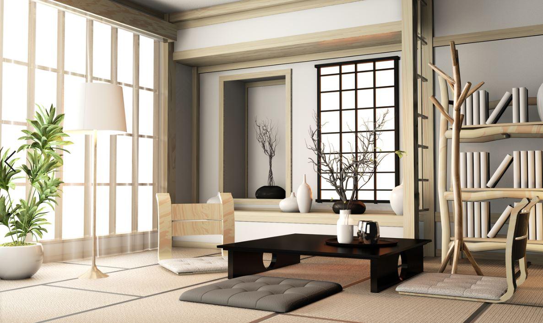 Salon Japonais Feng Shui Composé D'objets Tirés Des Cinq éléments