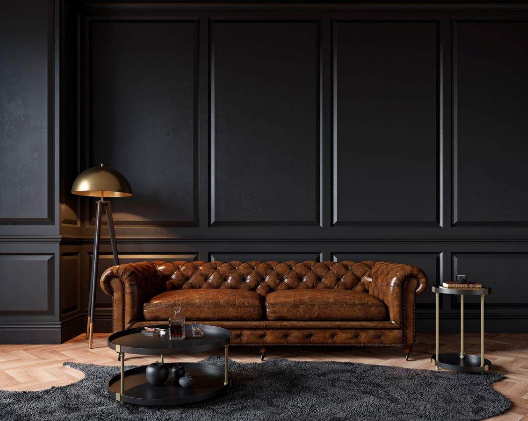 Salon Noir Et Brun De Style Moderne