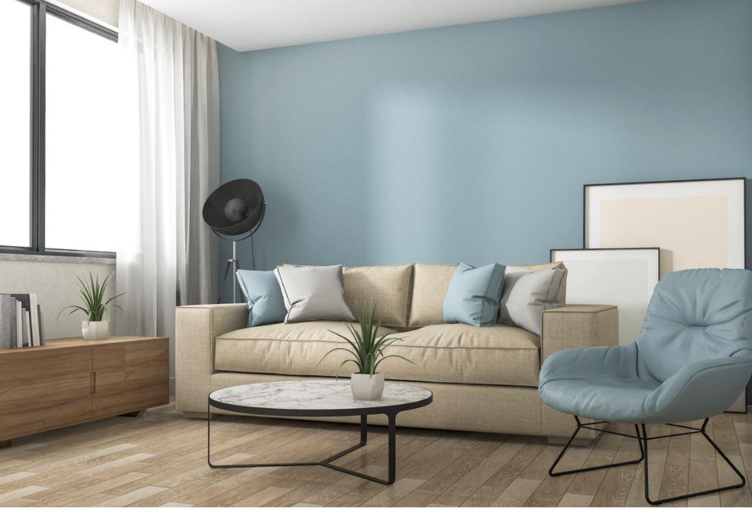 Salon Bleu Ciel Et Beige