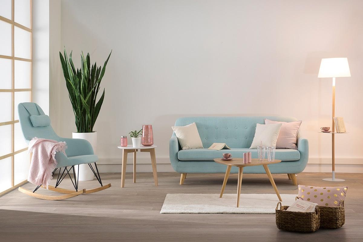 Salon Scandinave Pastel Avec Chaise A Bascule
