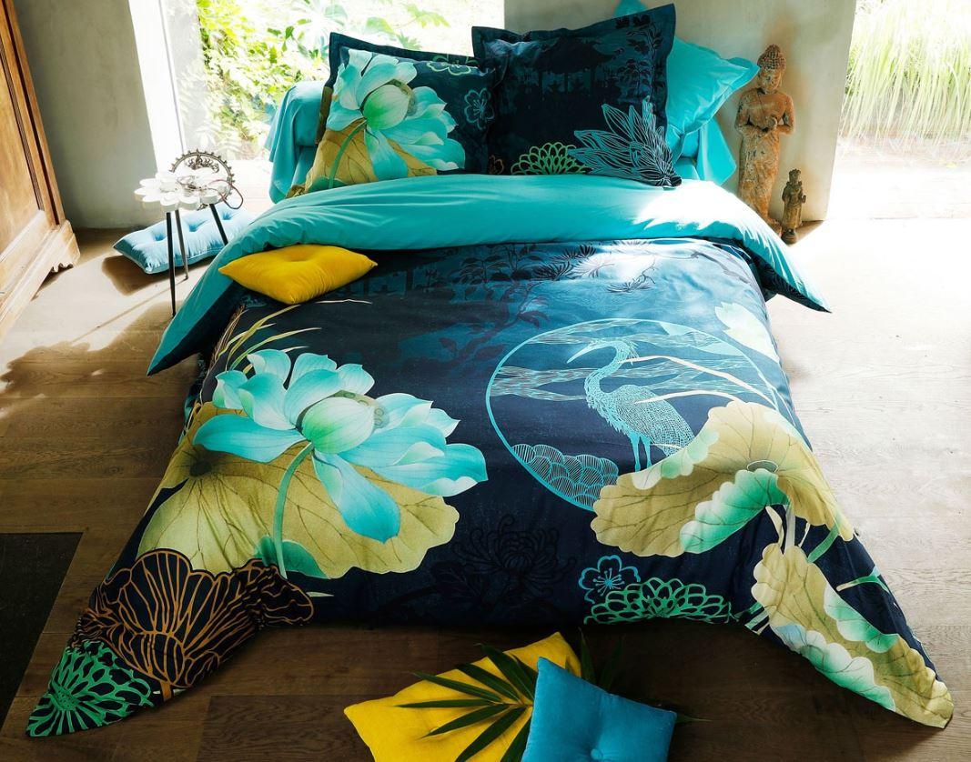 Linge De Lit Fleurs Asiatiques Bleu Canard