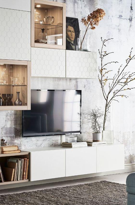 Salon Moderne Meuble Tv Façon Composition Murale