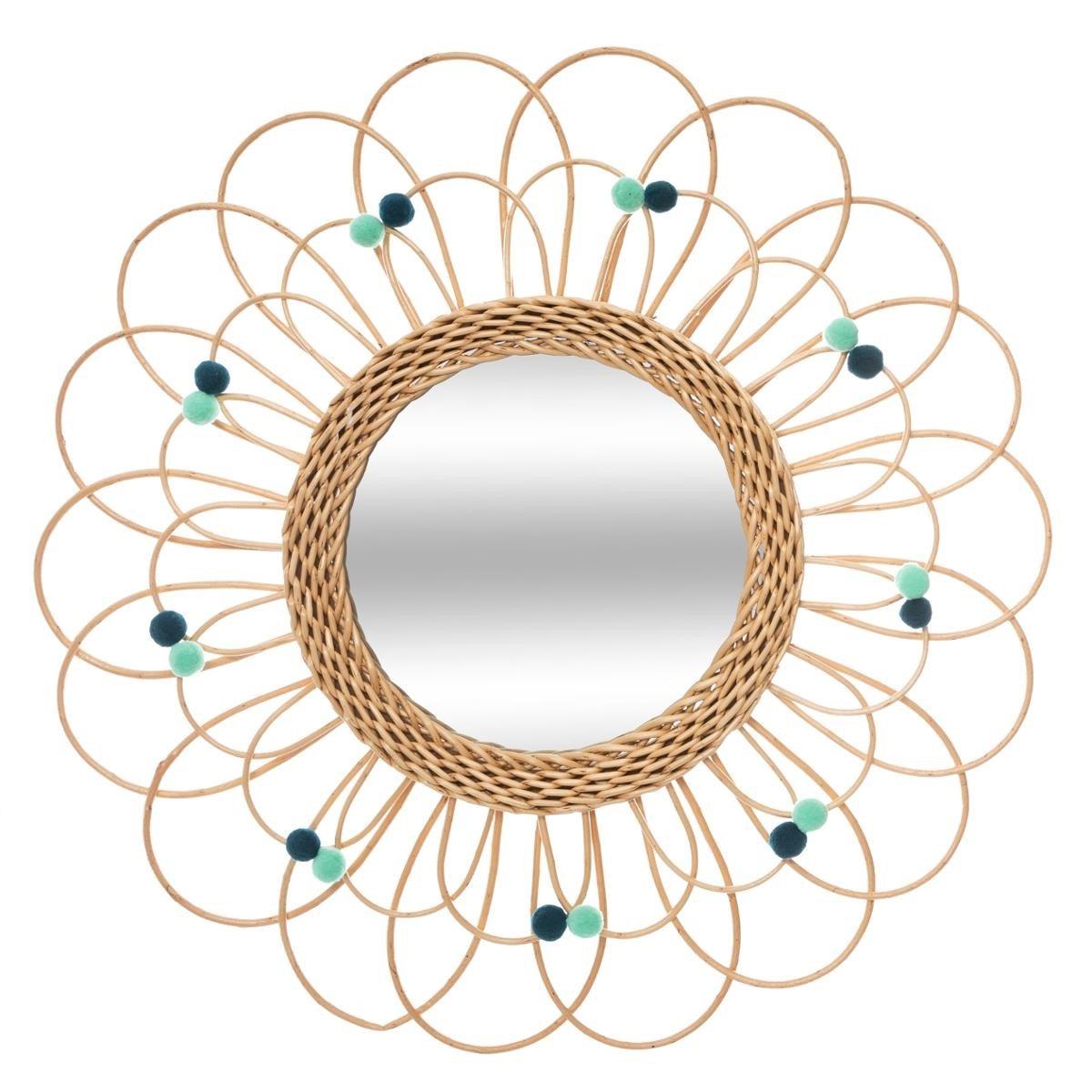 Miroir Rotin Fleur Et Pompons