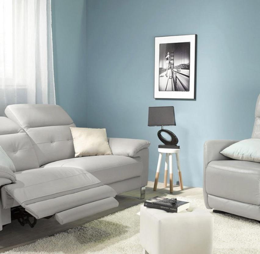 Salon Bleu Ciel Et Gris