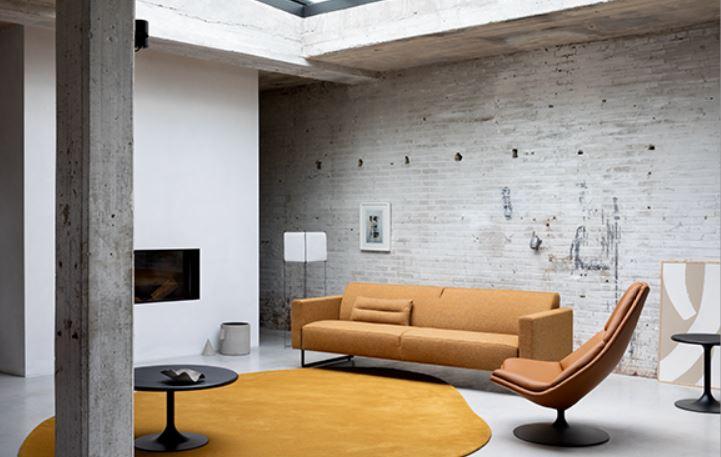 Salon Moderne Gris Et Moutarde
