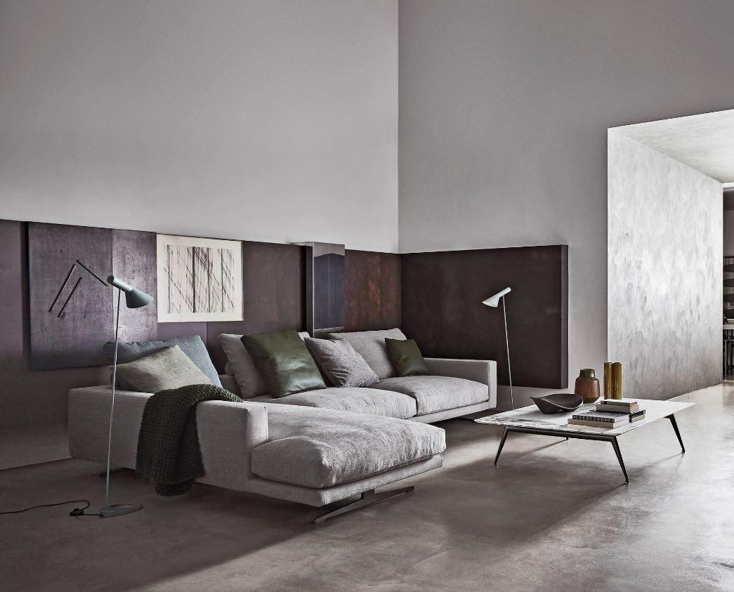 Salon Moderne Beton Cire Et Peinture Effet Metal Rouille