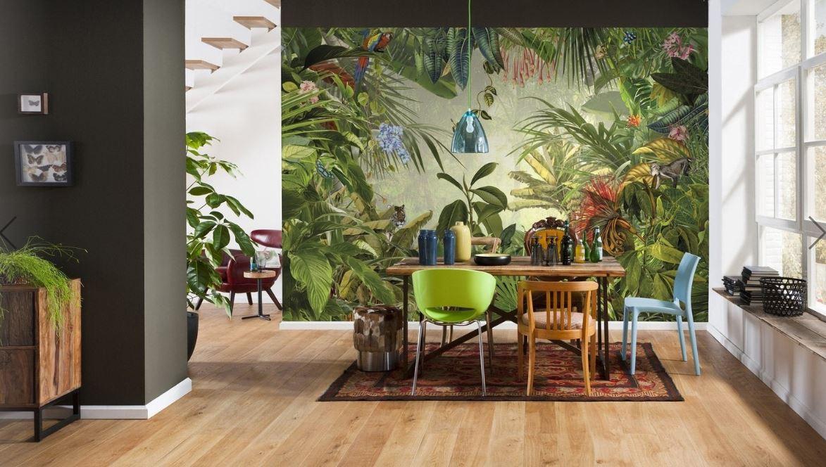 Papier Peint Jungle En Vert Avec Perroquets