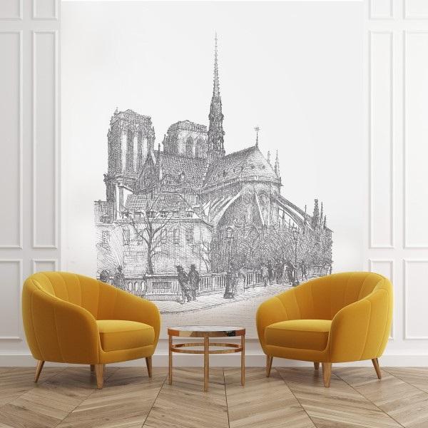 Papier Peint Panoramique Dans Un Salon Représentant Notre Dame De Paris