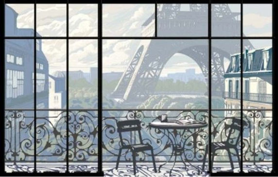 Papier Peint Panoramique De La Tour Eiffel