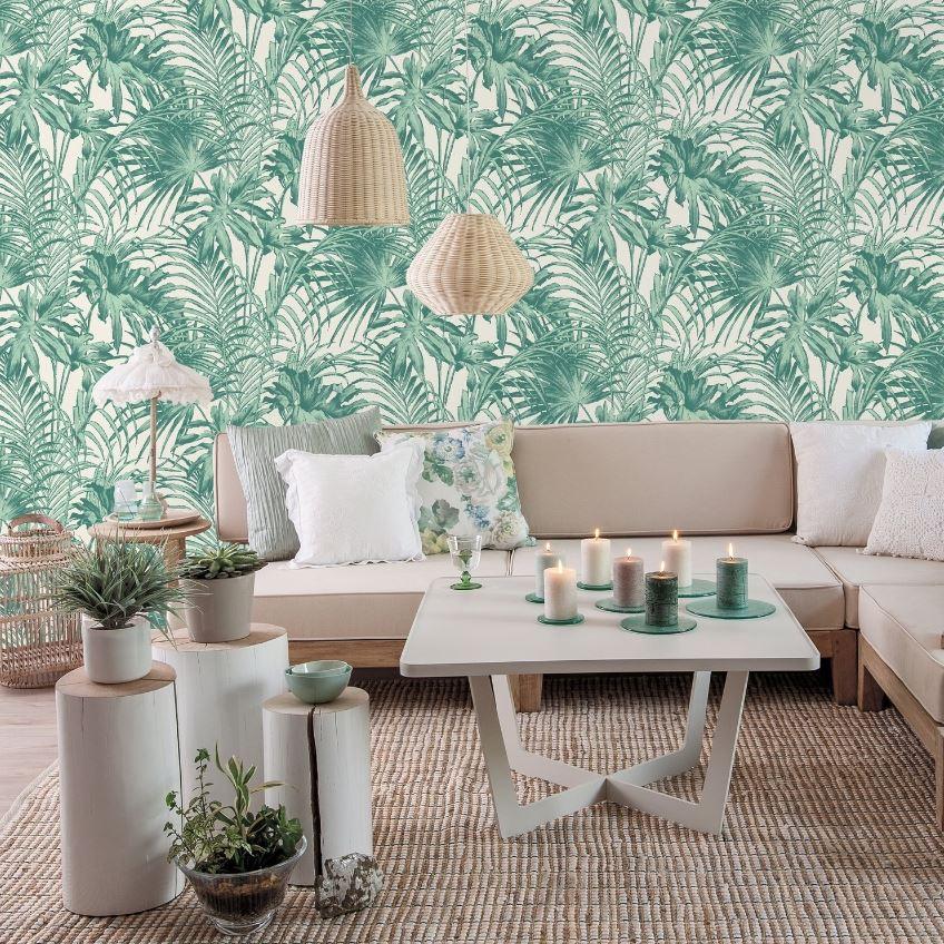 Papier Peint Vert Et Blanc Feuillage Tropical