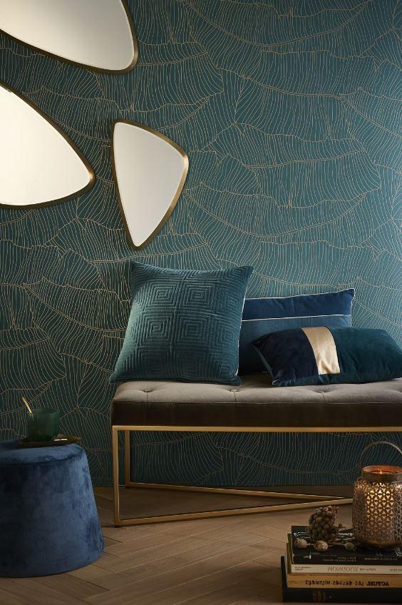 Revêtement Mural En Bleu Pétrole Avec Motifs Tropicaux