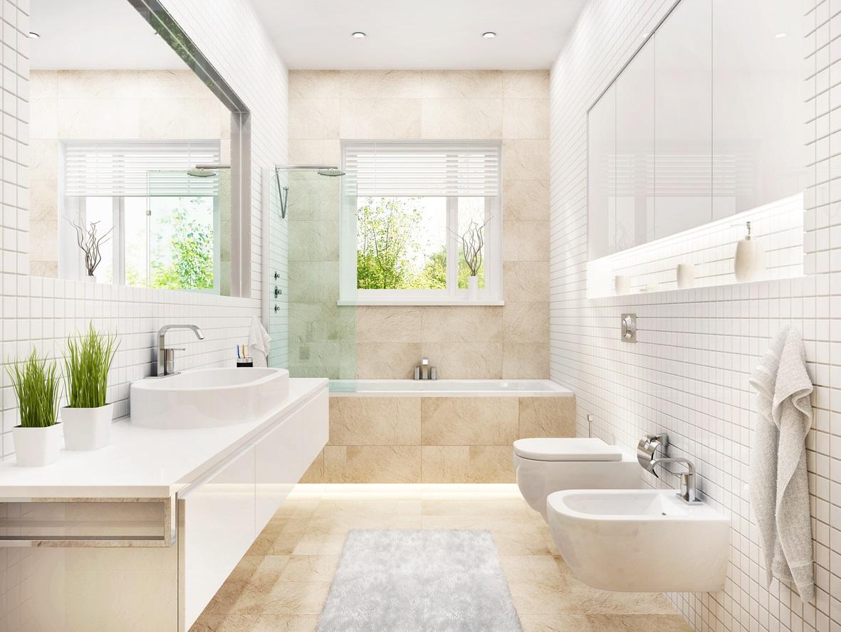 Salle De Bain Avec Baignoire Dans Des Tons Blanc Et Beige