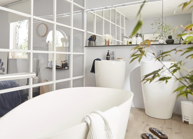 Salle De Bain Moderne Avec Une Porte Verrière Design