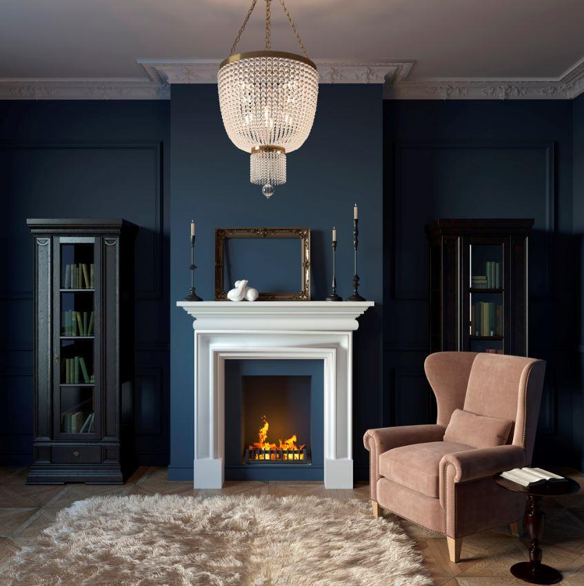 Salon à L'allure Traditionnelle En Bleu