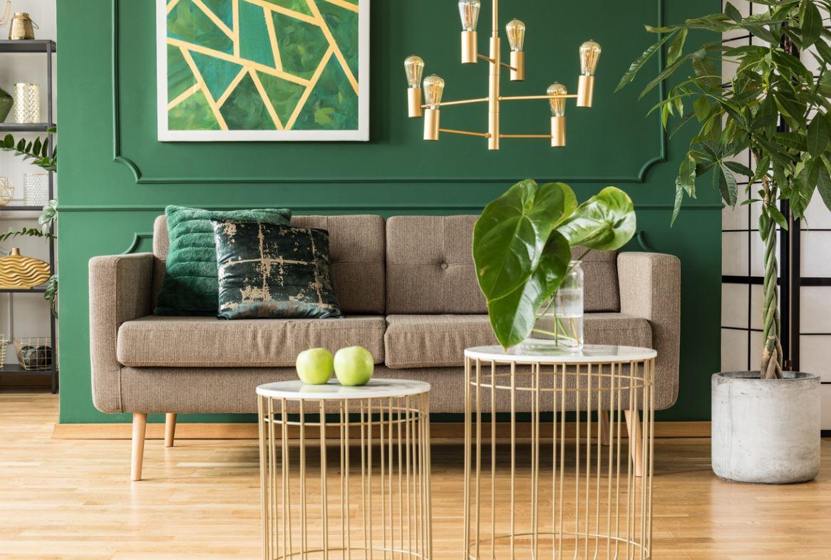 Salon Avec Canapé Encadré Par Un Mur Vert Intense