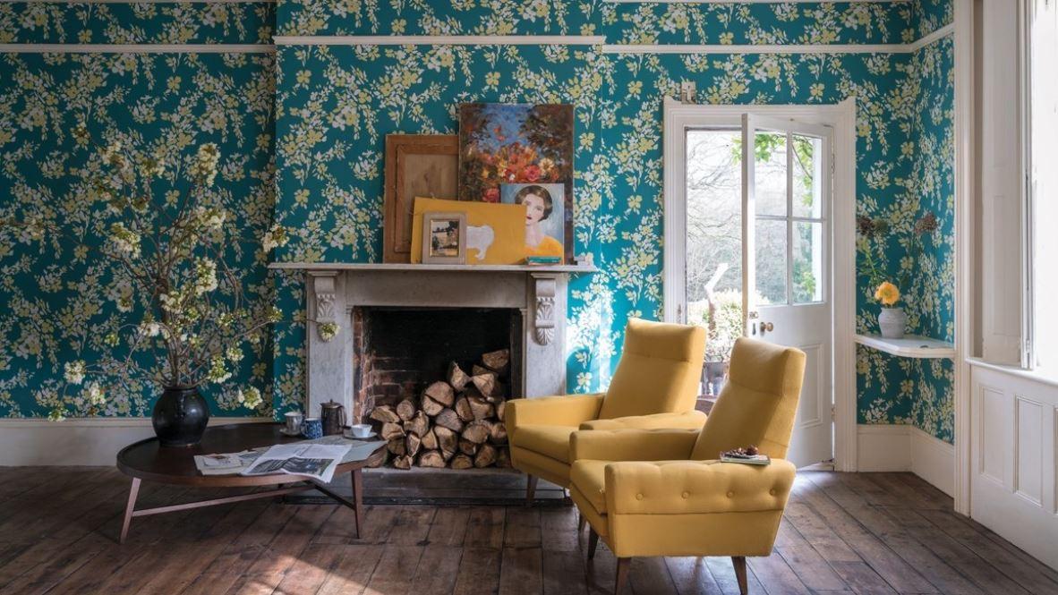 Salon Avec Papier Peint Fleuri