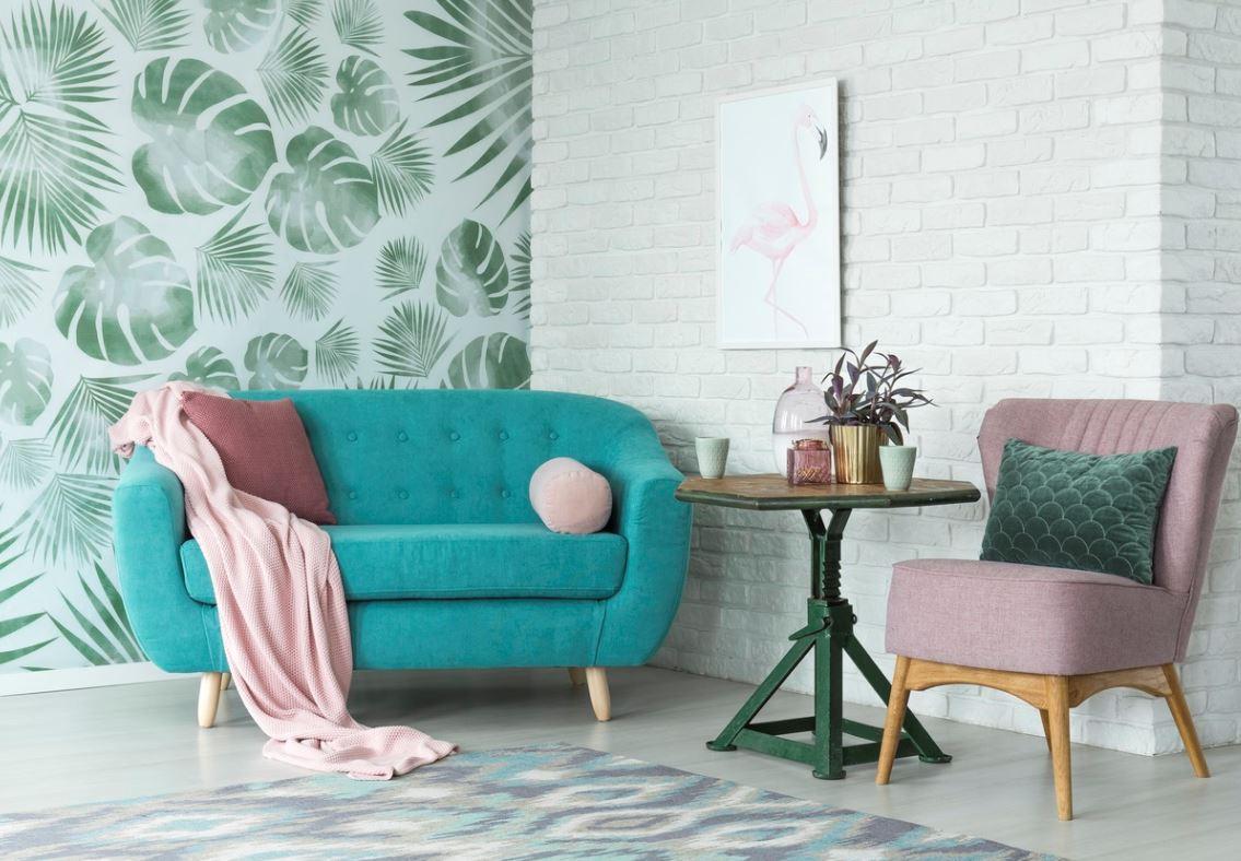 Salon Avec Papier Peint Vert Tropical