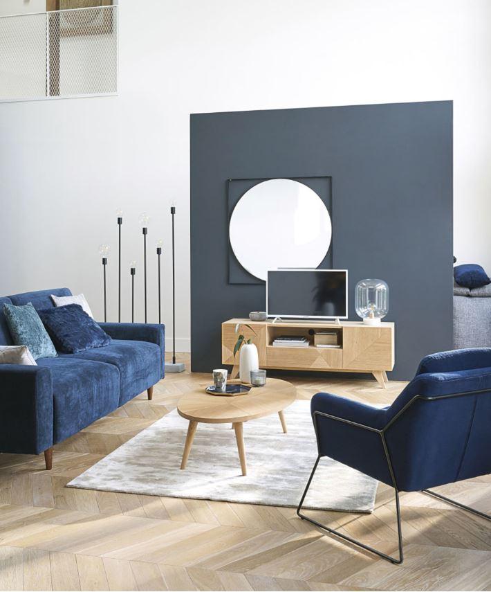 Salon Bleu Foncé Et Blanc