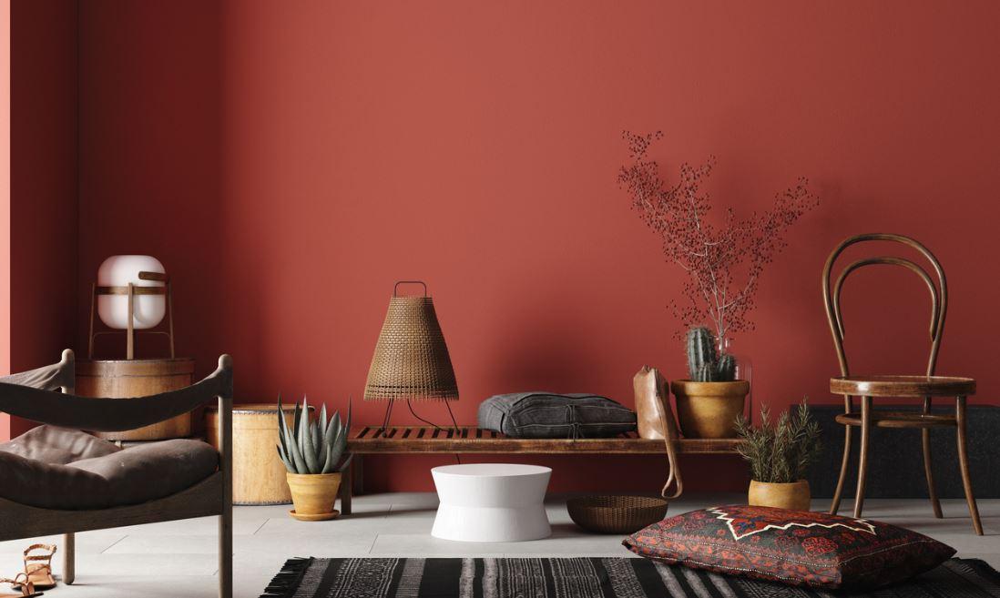 Salon Coloré En Rouge Terracotta Pour Une Décoration Méditerranéenne