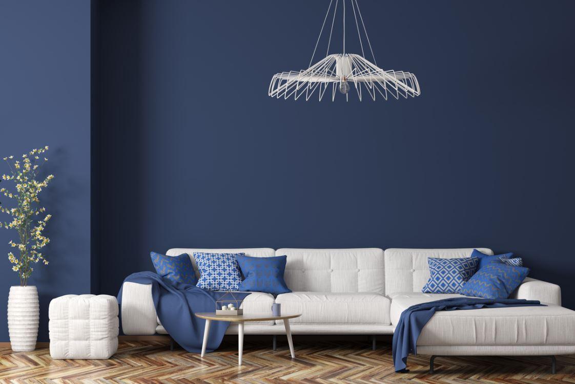 Salon Contemporain En Bleu Marine Et Blanc
