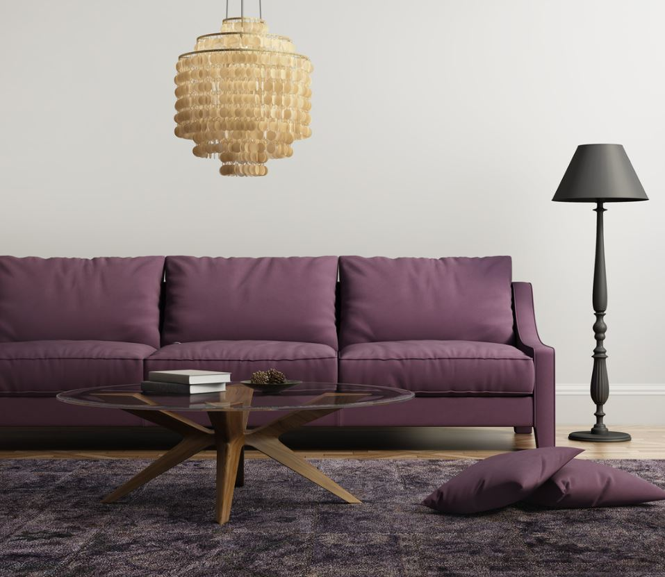 Salon Lilas Et Violet Avec éclairage Métallique Doré