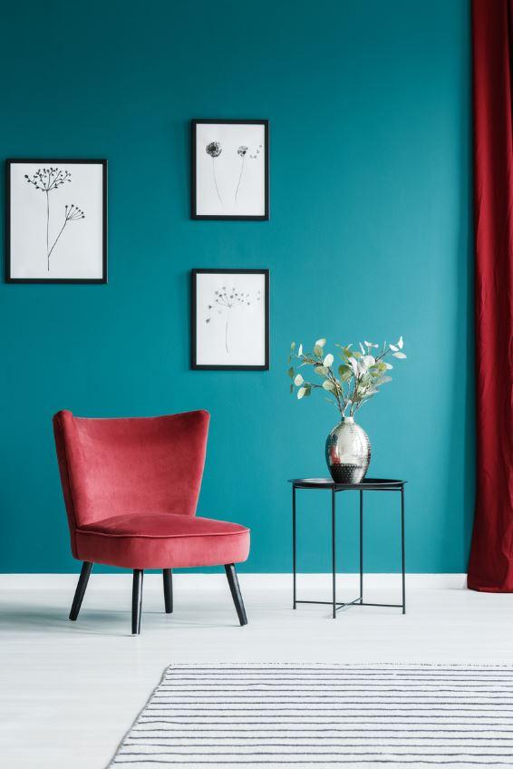 Salon Rouge Et Bleu Turquoise