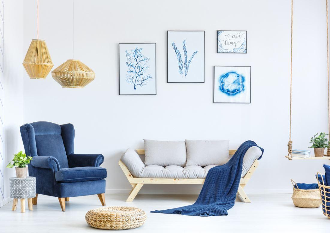 Salon Scandinave Gris Et Bleu Marine