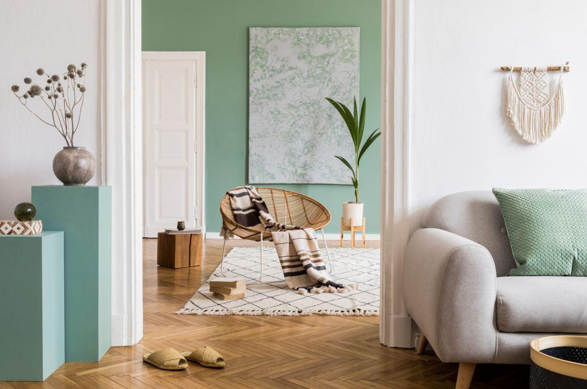 Salon Vert Sur Parquet De Bois