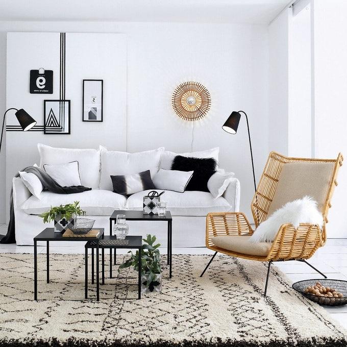 Petit Salon Moderne Graphique Et Rotin