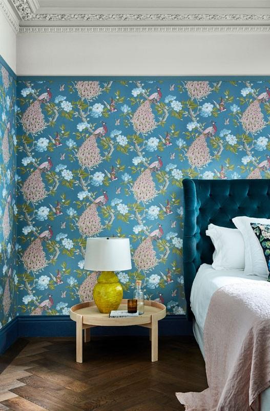 Papier Peint Pavona Bleu Apaisant Imprime Floral