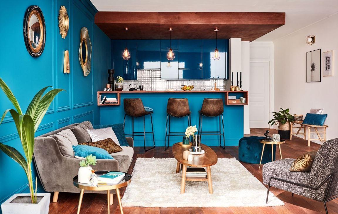 Salon Avec Cuisine Ouverte Bleu Canard