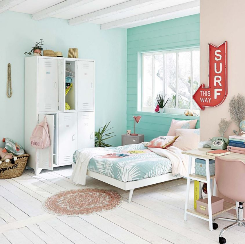 Chambre Ado Vert Mint, Rose Et Blanc