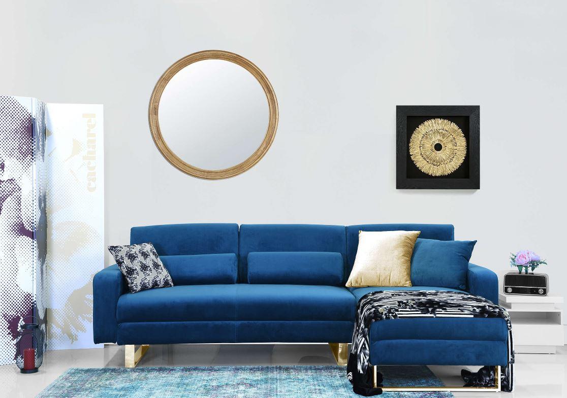 Canapé D'angle En Velours Bleu Et Pieds Design