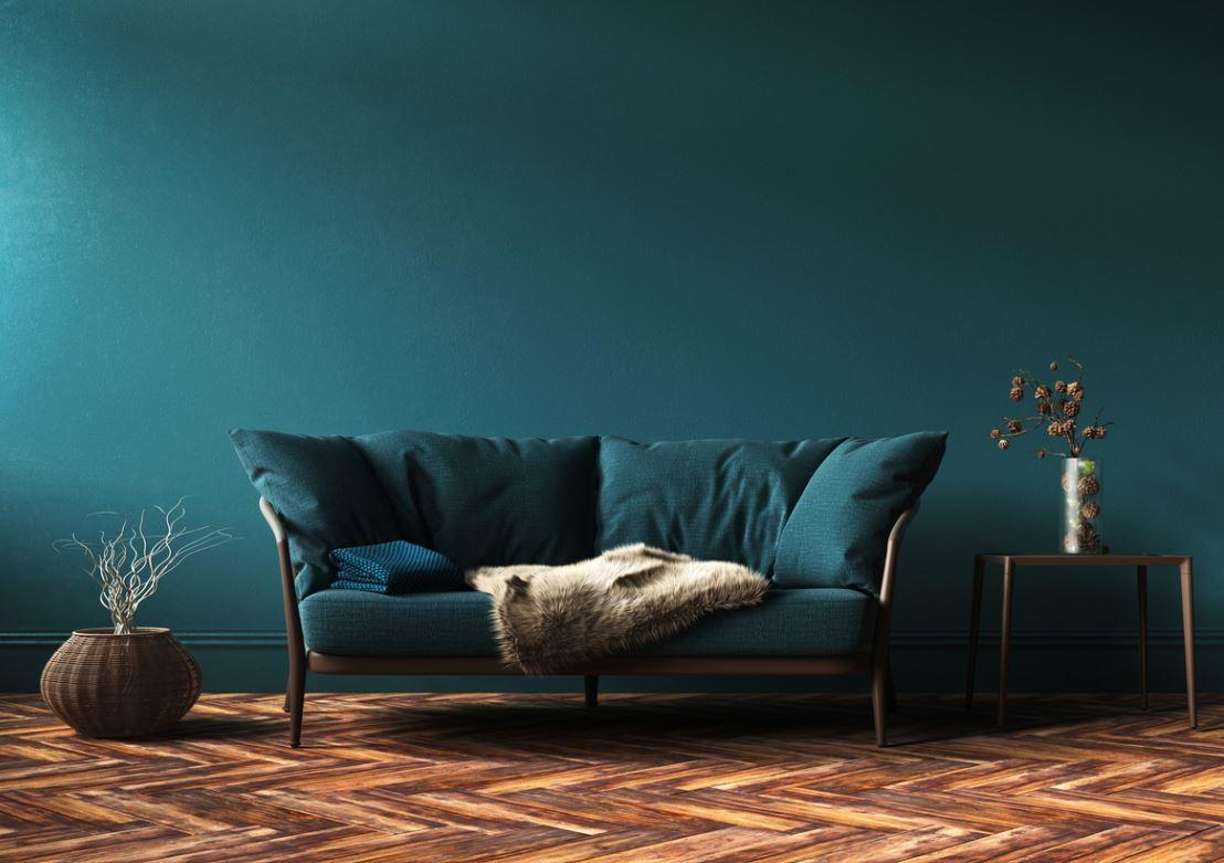 Canapé Design Deux Places Bleu Canard