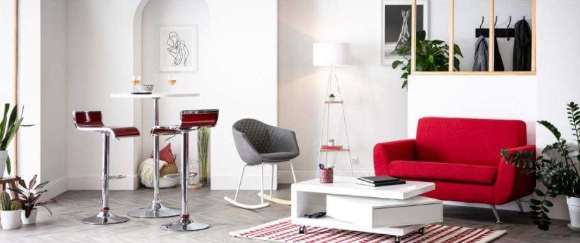 Canapé Design, Rouge Vif, Pour Une Ambiance Pop