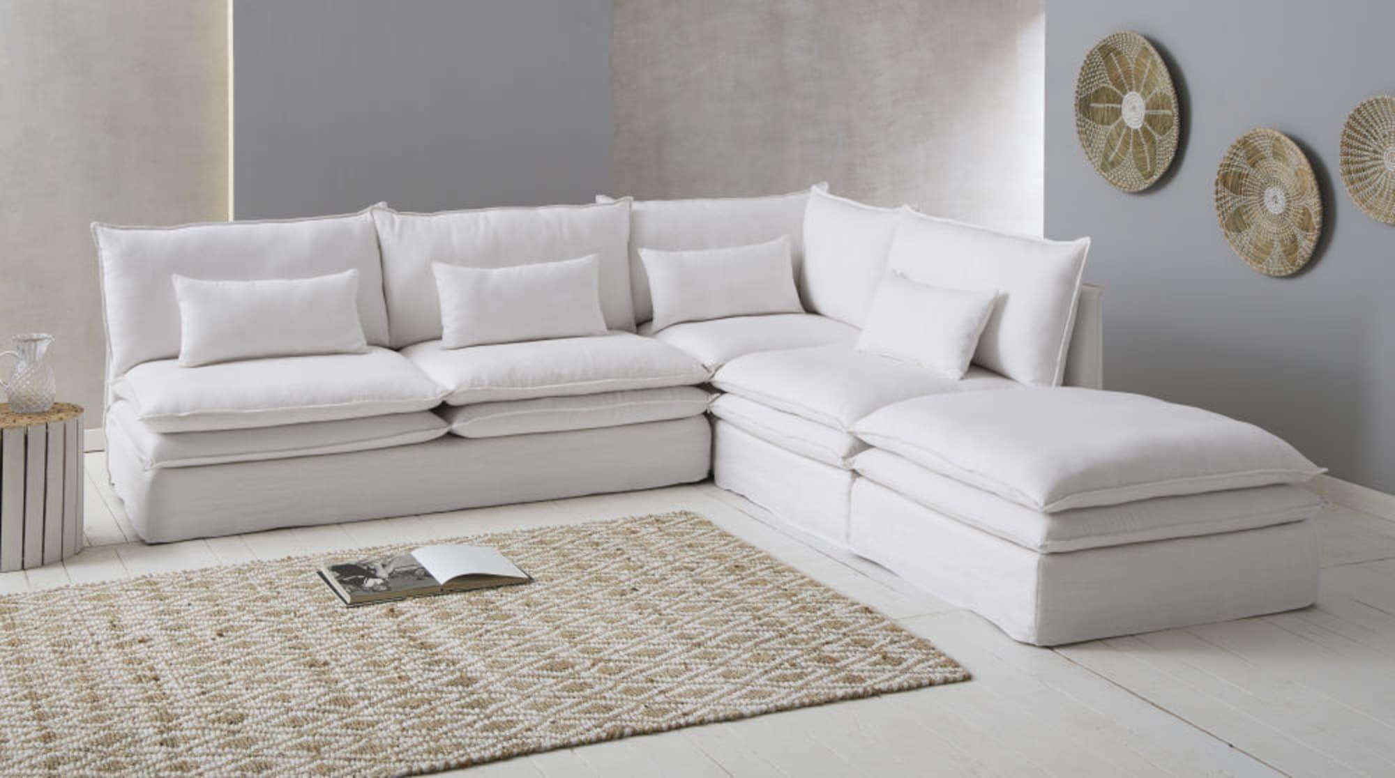 Canapé Modulable Blanc En Lin
