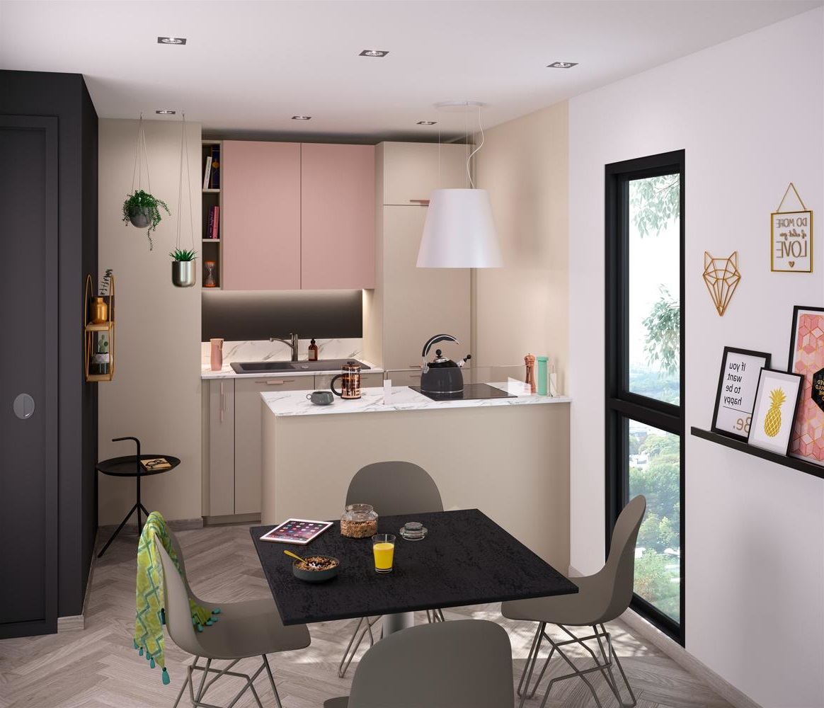 Cuisine Rose Poudré Dans Un Angle D'un Petit Studio